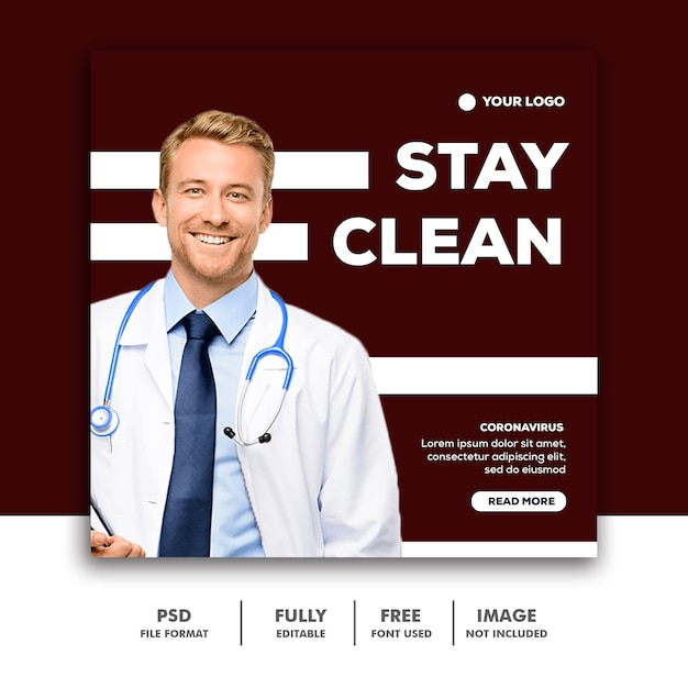 Stay clean banner template