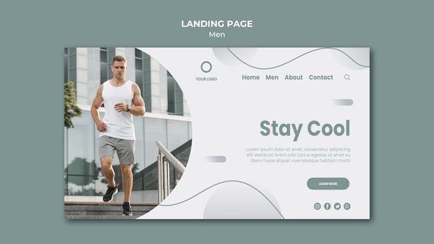 Stay cool and do sport landing page Free Psd