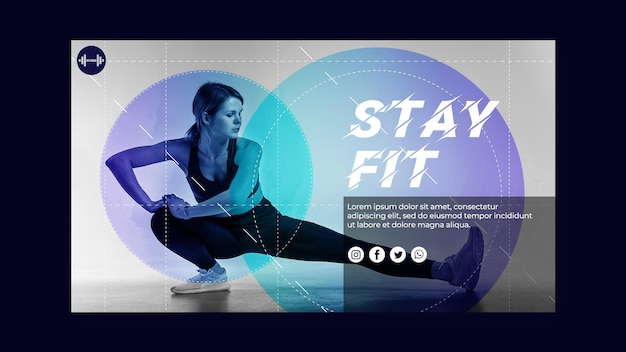 Stay fit concept landing page template Free Psd