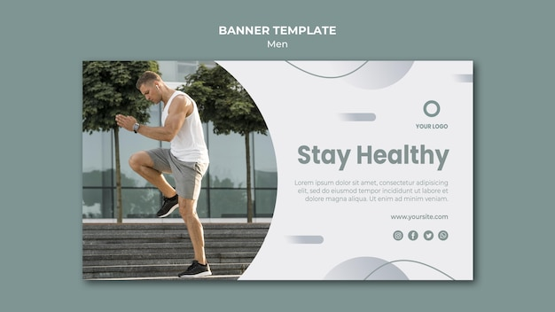 Stay healthy banner web template Free Psd