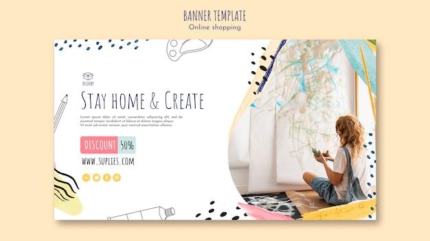 Оставайтесь дома и создайте шаблон баннера Бесплатные Psd