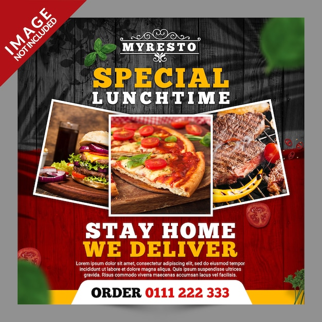 Stay home we deliver banner Premium Psd