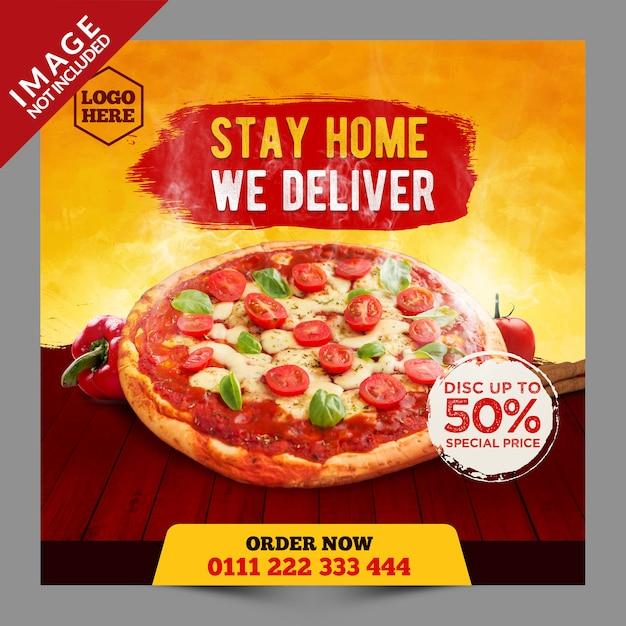 Stay homeピザプロモーションを配信 Premium Psd