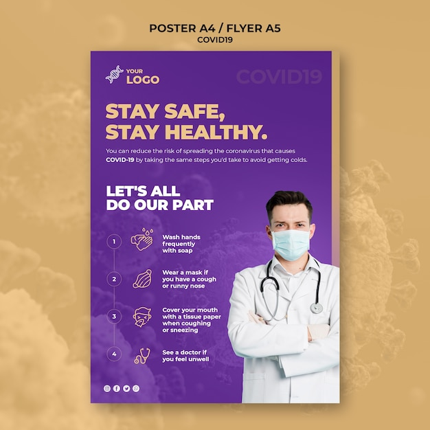 Stay safe and healthy covid-19 poster template | Free PSD File