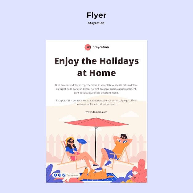 Staycation concept flyer design Free Psd