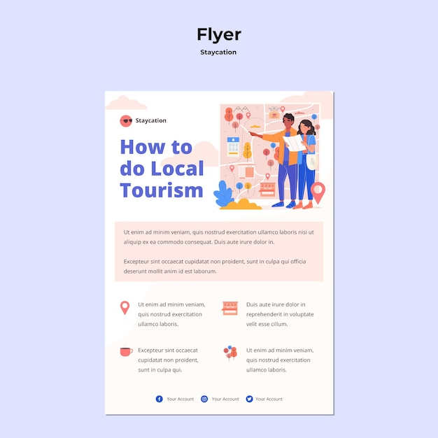 Staycation concept flyer template Free Psd