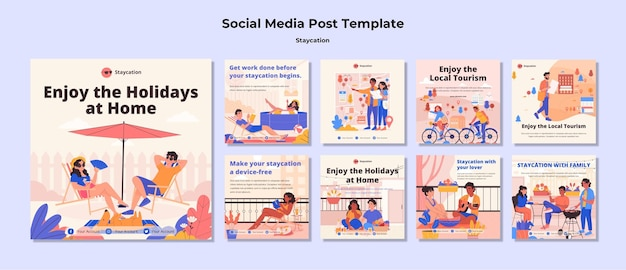 Staycation concept social media post Free Psd