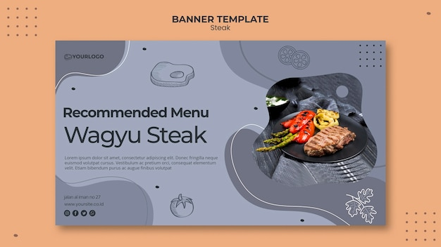 Steak banner template design Free Psd