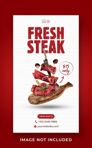 Steak food menu promotion social media instagram story banner template Premium Psd