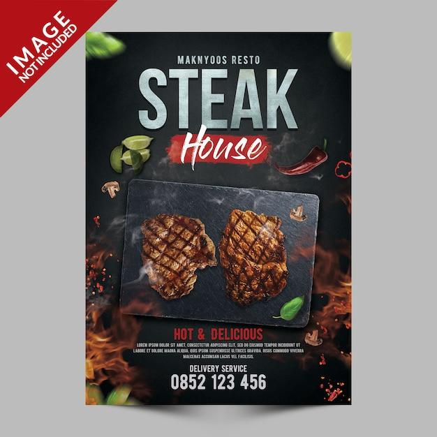 Steak house poster template Premium Psd