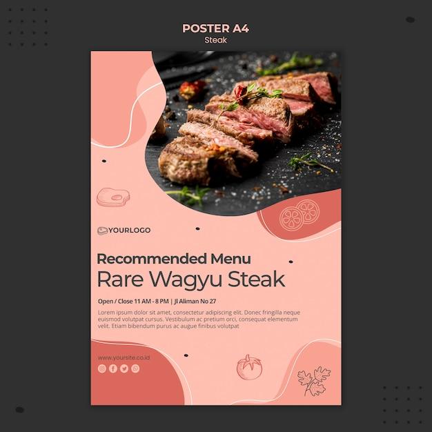 Tema del modello di poster di bistecca Psd Gratuite