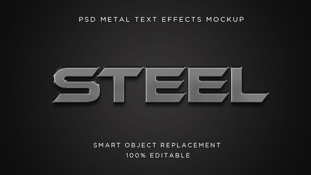 Steel  3d text effect psd mockup Premium Psd