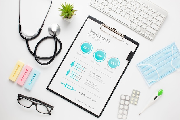 Stethoscope and clipboard Free Psd