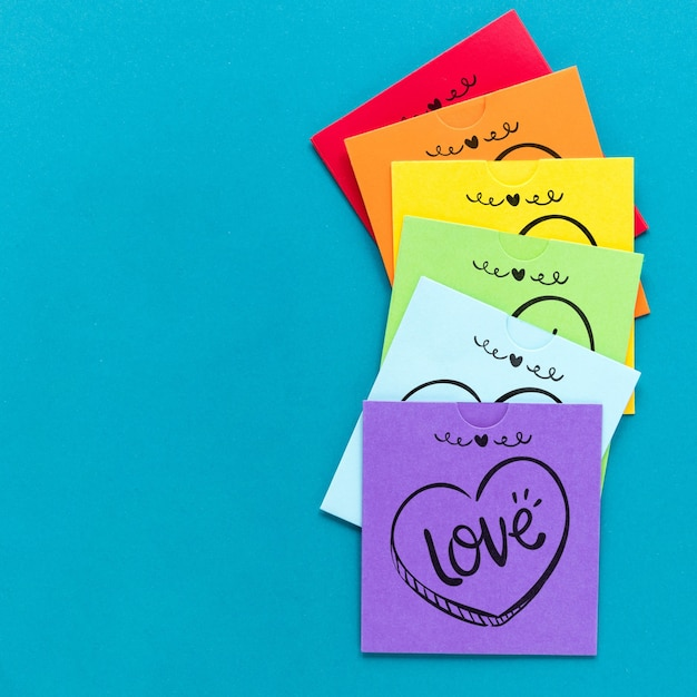 Stick notes with messages for pride day Free Psd