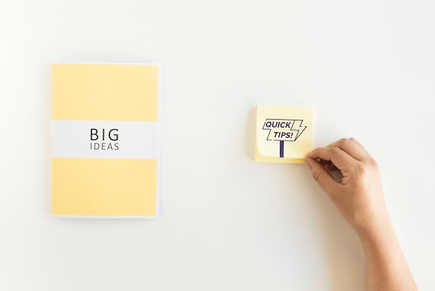 Sticky notes mockup with tips concept   Free PSD File