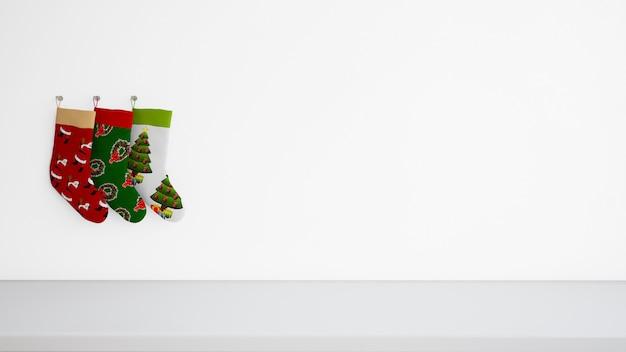壁に掛かっているさまざまなデザインのストッキング 無料 Psd