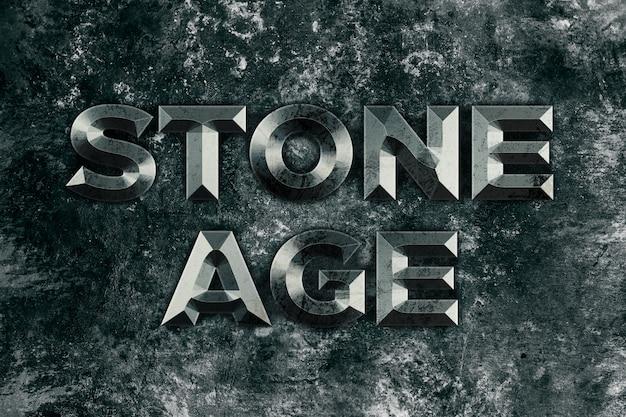 Stone age, stone text style effect Premium Psd