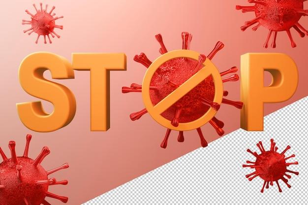 Остановить вирус covid-19 в концепции 3d-рендеринга Premium Psd