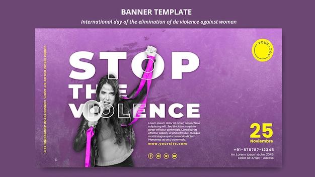 Fermare la violenza contro il modello di banner orizzontale delle donne Psd Gratuite