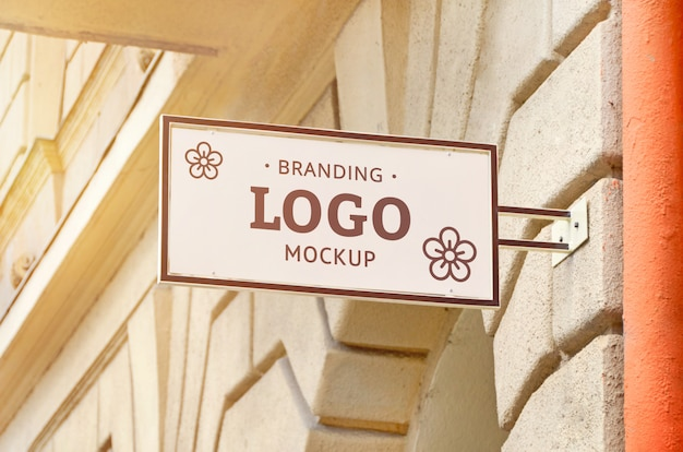 Store sign, rectangular shape Premium Psd