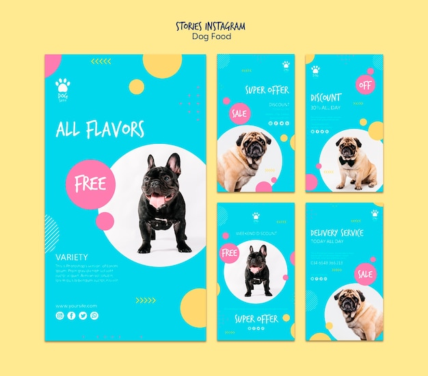 Stories for instagram with dog food offers Free Psd