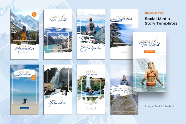 Story templates travel brush social media banner Premium Psd