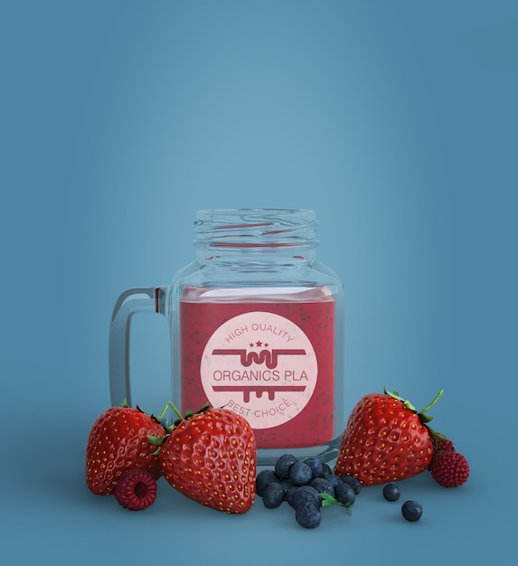 Strawberry and blueberry smoothie mock-up Free Psd
