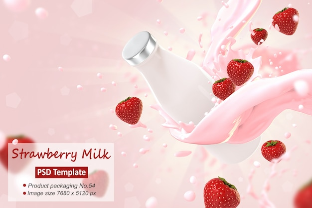 Strawberry milk  background template 3d render Premium Psd
