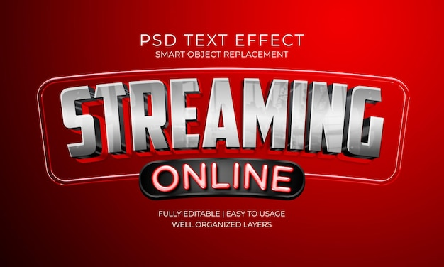 스트리밍 온라인 텍스트 효과 템플릿 프리미엄 PSD 파일
