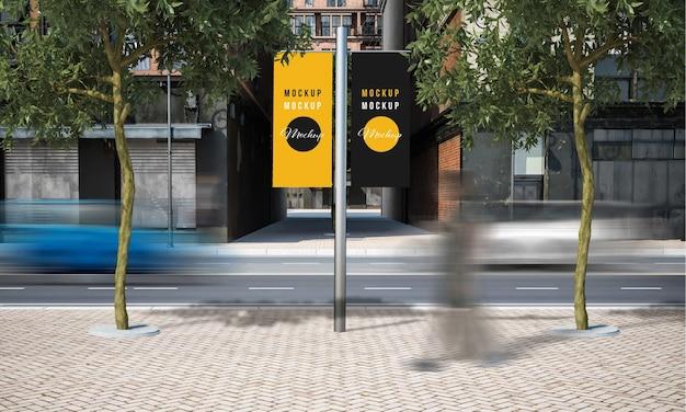 거리 광고 가로등 기둥을 모의 프리미엄 PSD 파일