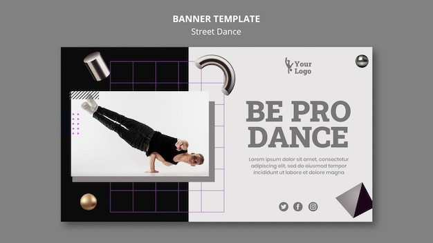Street dance horizontal banner template with photo Free Psd