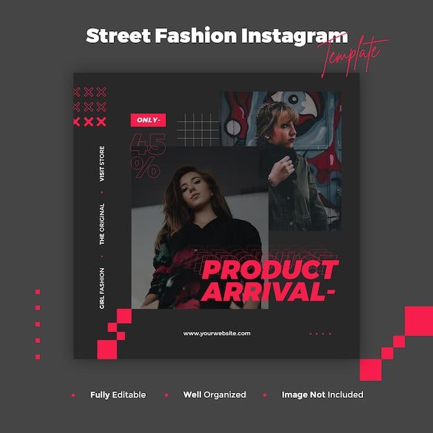 ストリートファッションinstagramの投稿とバナーテンプレート Premium Psd