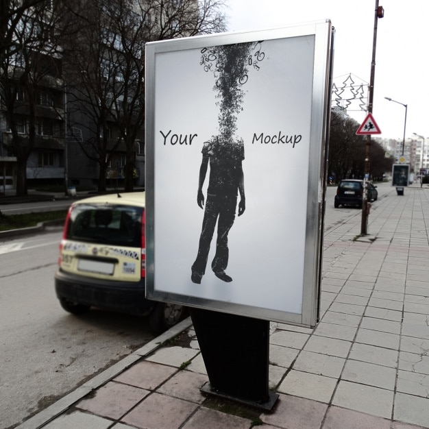 Street poster mock up design Free Psd