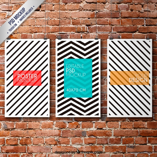 Striped posters mockup Free Psd