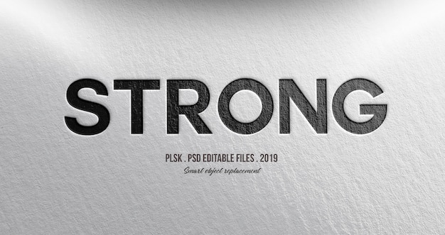 Strong 3d text style effect Premium Psd