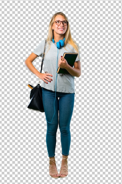 Student girl with glasses posing with arms at hip and laughing Premium Psd