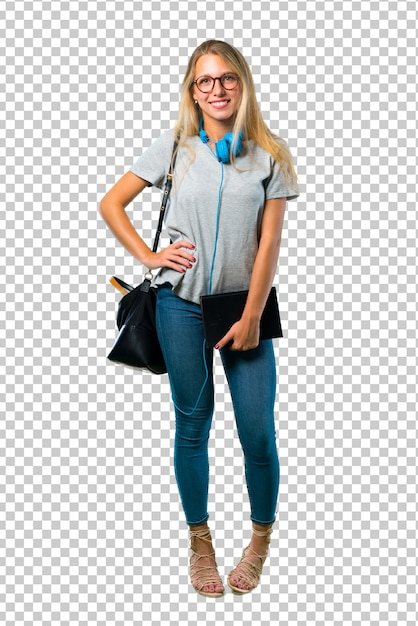 Student girl with glasses posing with arms at hip and smiling Premium Psd