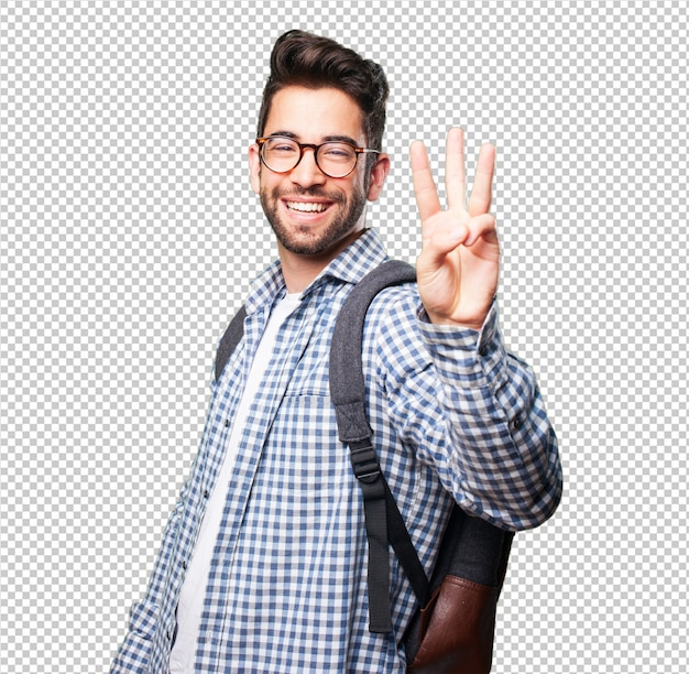 Student man doing number three gesture Premium Psd