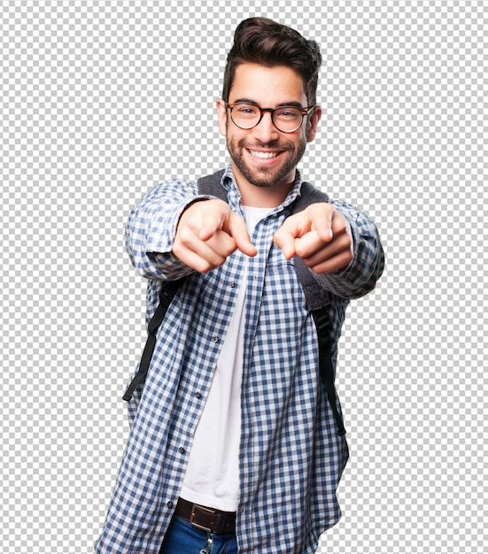Student man pointing front Premium Psd