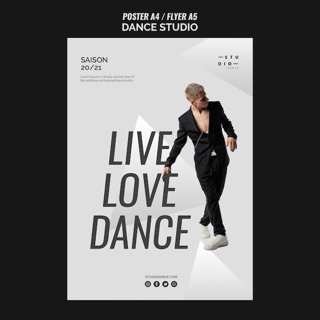 우아한 의상 스튜디오 댄스 포스터 템플릿과 남자 무료 PSD 파일