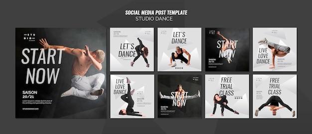 Шаблон сообщения в социальных сетях студии танцев Бесплатные Psd
