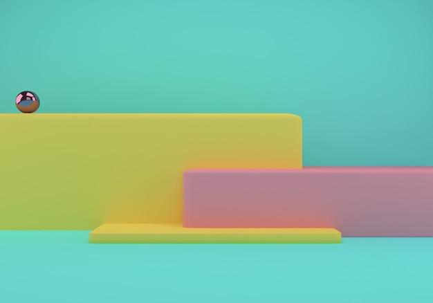 기하학적 모양과 제품 발표를위한 연단이있는 스튜디오 프리미엄 PSD 파일