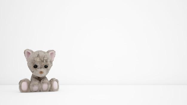 Фаршированные щенки на белой комнате с copyspace Бесплатные Psd