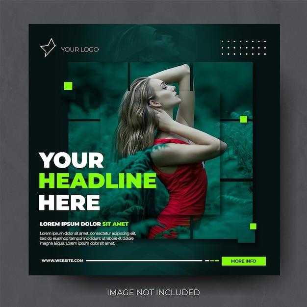 Stylish green fashion sale instagram post feed template Premium Psd