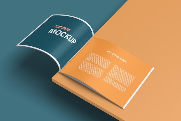 Stylish opened book or magazine mockup Premium Psd