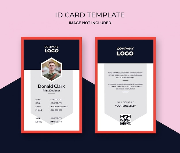 Stylish Red Id Card Design Template PSD File