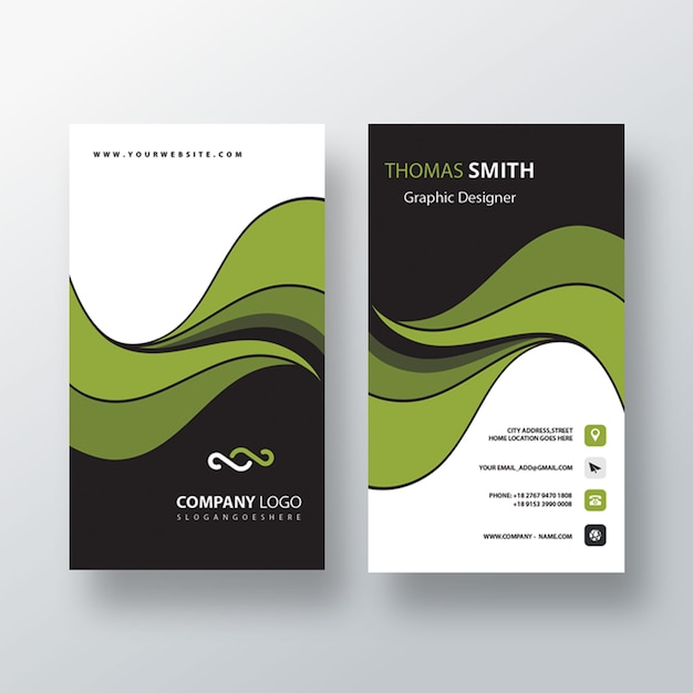 Stylish vertical business card Free Psd
