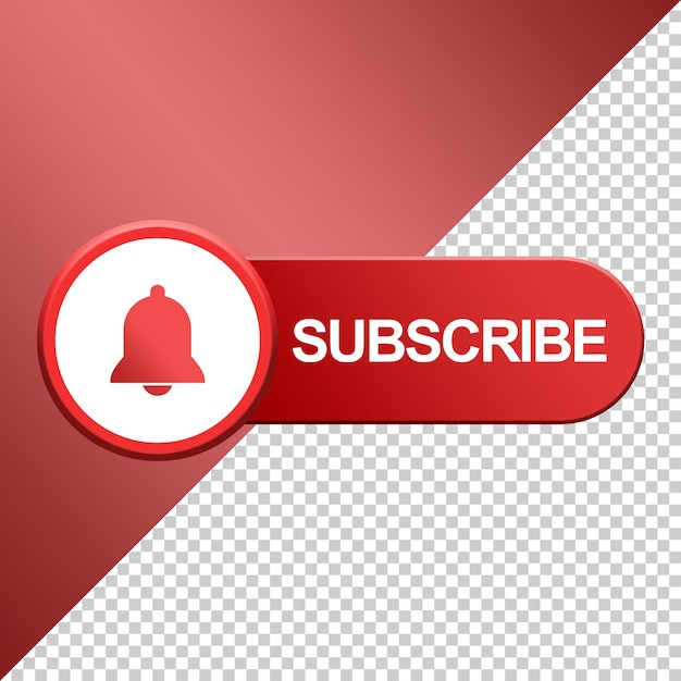 Subscribe button with bell design 3d Premium Psd