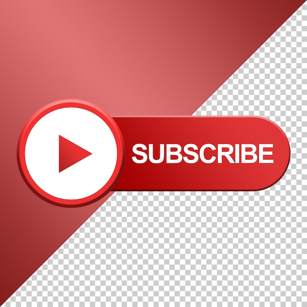 Subscribe button with play icon design 3d Premium Psd