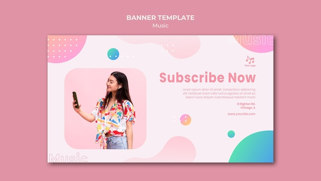 Subscribe now music banner web template Free Psd